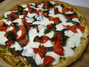 Margherita Pizza with Pesto (www.espinosakitchen.wordpress.com)
