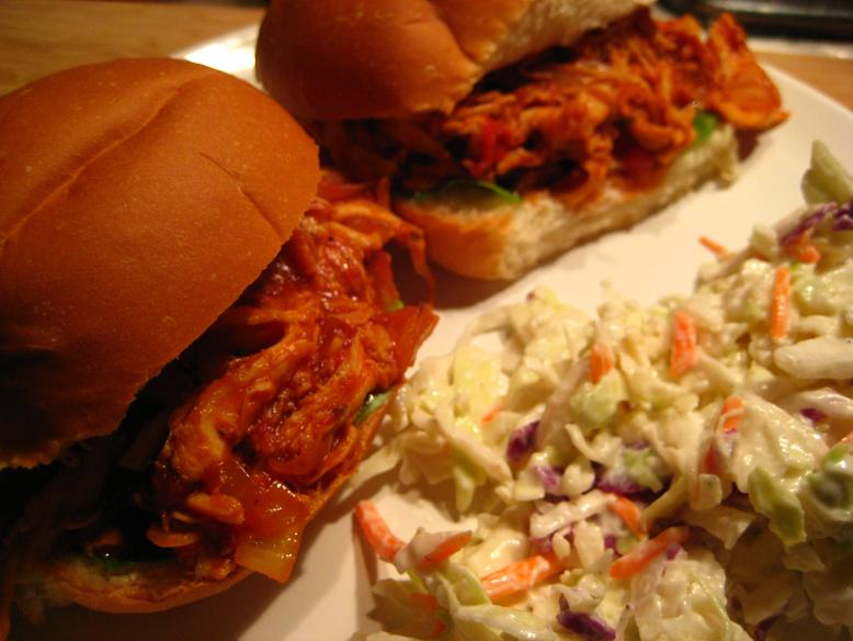 Pulled BBQ Chicken Sandwiches with Coleslaw