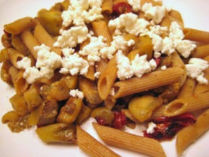 Penne with Eggplant, Thyme and Goat Cheese (www.espinosakitchen.wordpress.com)