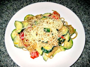Linguine with Zucchini, grape tomatoes, and creamy lemon-yogurt sauce (Espinosa Kitchen)