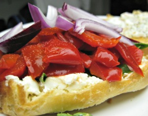 Roasted Red Pepper and Goat Cheese Sandwich (Espinosa Kitchen)